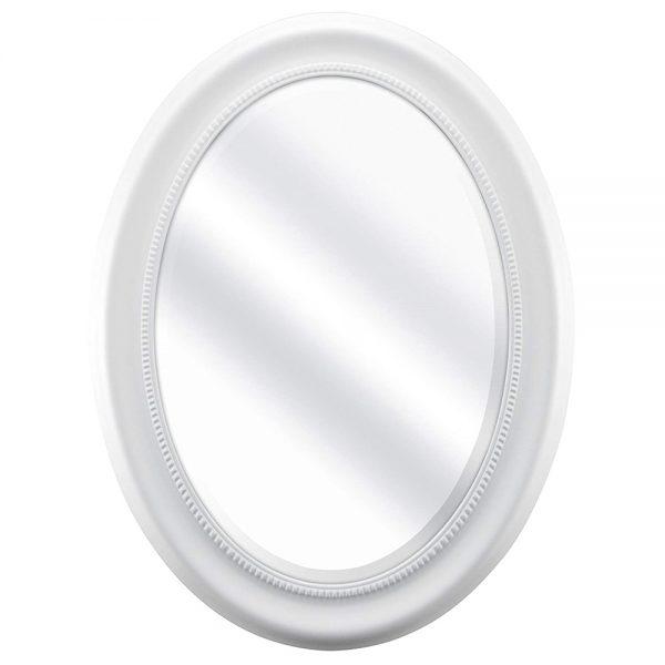 Oglinda ovala Amber alba lemn 36x53cm