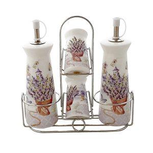 Oliviera lavanda 4 recipiente portelan alb Lavender suport metalic