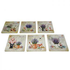 Set 6 suporturi pahare Lavender coastere cu flori lavanda