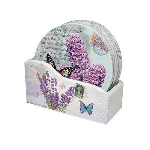 Set 6 suporturi pahare Purple lemn coastere cu flori mov