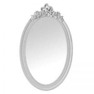 Oglinda alba ovala vintage oglinda mireasa Vivienne 39x64cm