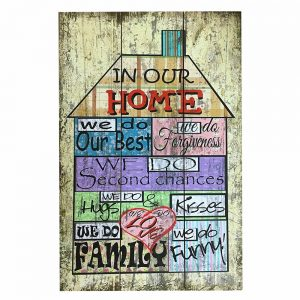 Tablou text House Rules 40x60cm vintage