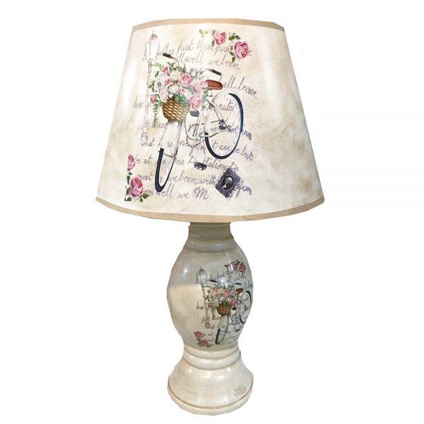 Veioza dormitor Florence suport ceramica lampa cu flori shabby chic