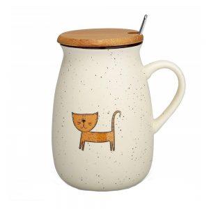 Cana pisica Bradley cana cafea ceai capac bambus si lingurita