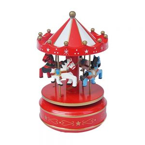 Carusel muzical cu caluti lemn cutie muzicala rosu alb Carousel