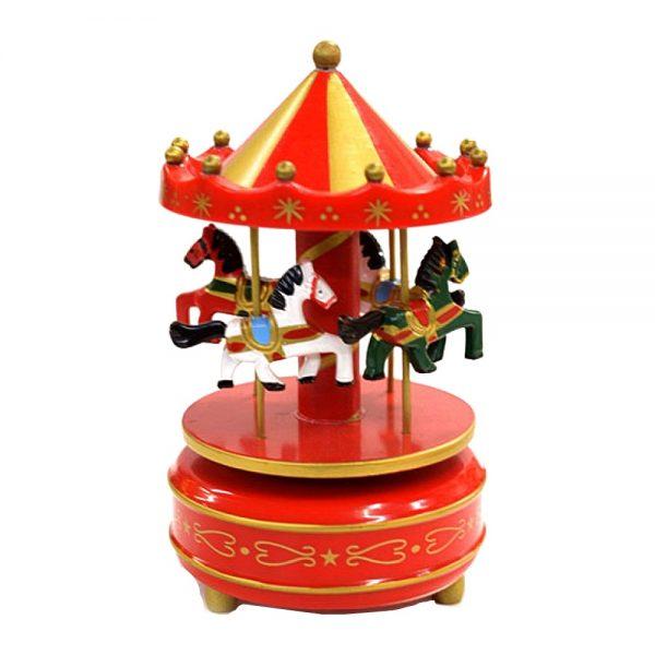 Carusel muzical cu caluti lemn cutie muzicala rosu auriu Carousel