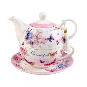 Ceainic trandafiri Candice portelan set ceai