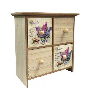 Cutie bijuterii 4 sertare Lavender lemn