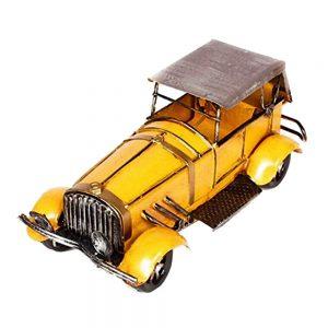 Macheta metal vintage masina de epoca galben Antique 25x11x11cm