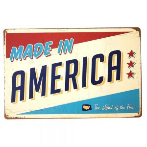 Placa metalica Made In America poster vintage