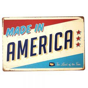 Placa metalica America's Flag poster multicolor vintage 30x20cm