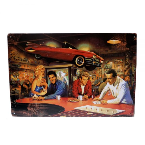 Placa metalica America's Legends poster multicolor vintage 30x20cm
