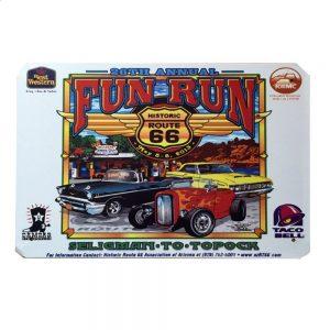 Placa metalica Fun Run Route 66 poster multicolor vintage 20x30cm