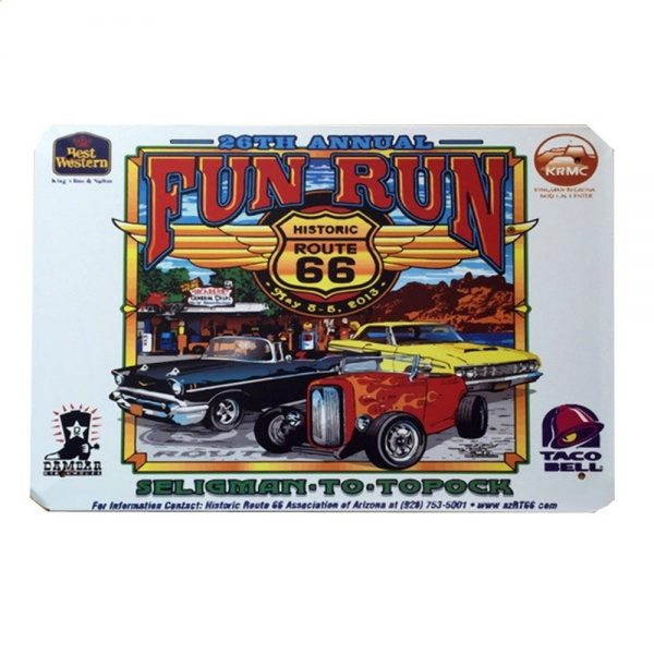 Placa metalica Fun Run Route 66 poster multicolor vintage 20x30cm