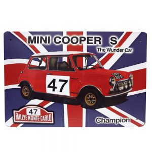 Placa metalica Mini Cooper poster multicolor vintage 30x20cm