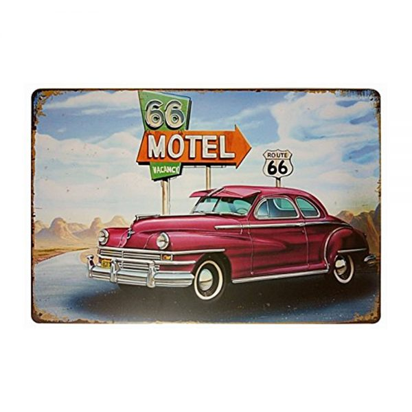 Placa metalica Motel Route 66 poster multicolor vintage 30x20cm
