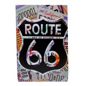 Placa metalica Original Route 66 poster multicolor vintage 20x30cm