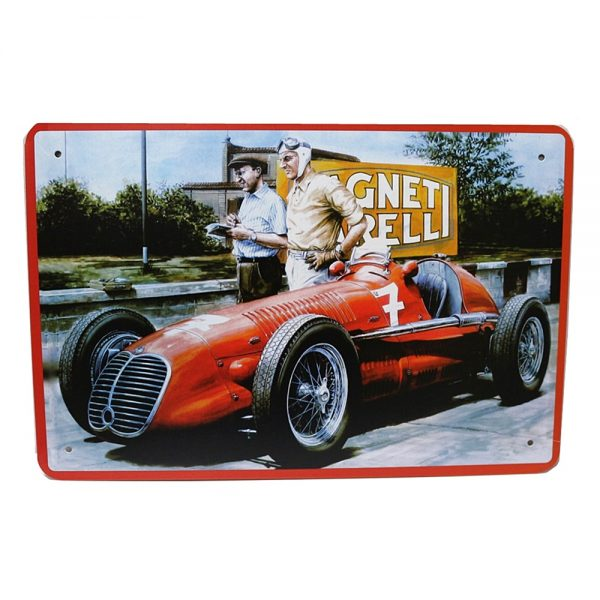 Placa metalica Race Car Route 66 poster multicolor vintage 20x30cm