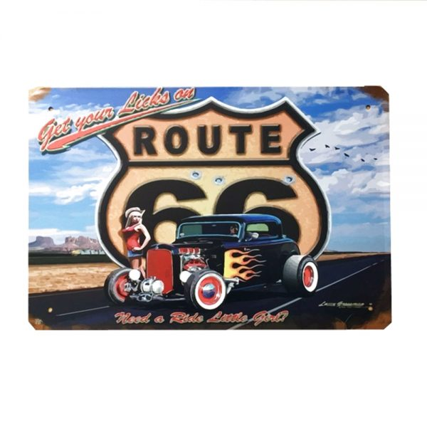 Placa metalica Route 66 Girl poster multicolor vintage 20x30cm