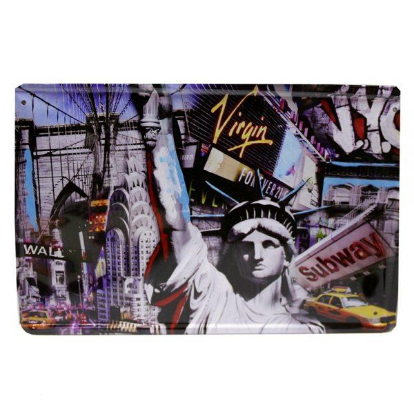 Placa metalica Statue Of Liberty poster multicolor vintage 30x20cm
