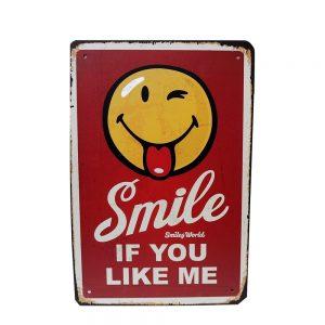 Placa metalica vintage tablou mesaj motivational About Smile 20x30cm