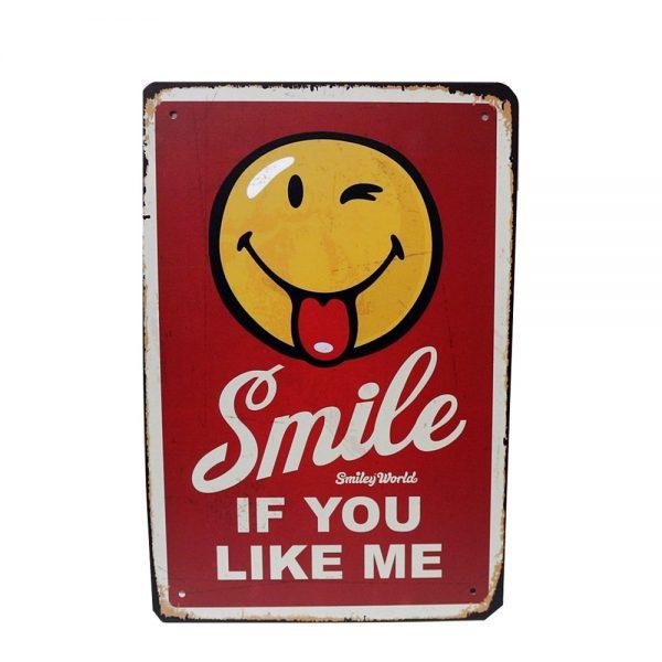 Placa metalica About Smile poster vintage