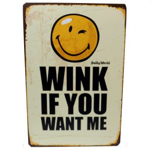 Placa metalica vintage tablou mesaj motivational About Wink 20x30cm