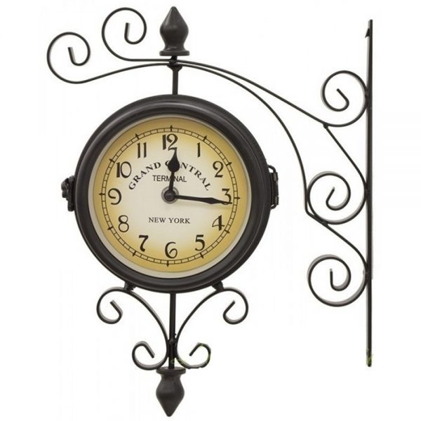 Ceas gara vintage negru 2 cadrane ceas suspendat Antique fier