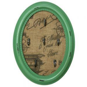 Cuier chei Gretchen vintage lemn verde antichizat suport 6 carlige