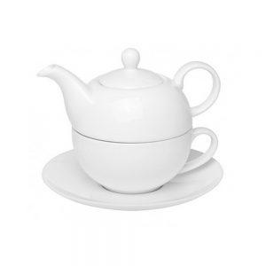 Ceainic alb cu ceasca Rosemarie