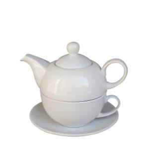 Set ceai pentru 1 persoana Rosemarie alb, 3 piese