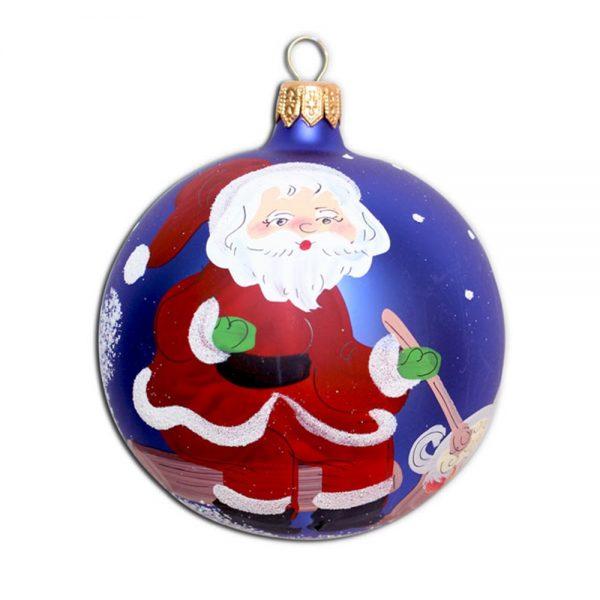 Glob de sticla pictat manual Xmas Art ornament brad 120mm