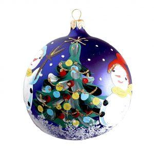 Glob de sticla pictat manual Xmas Art ornament brad 80mm
