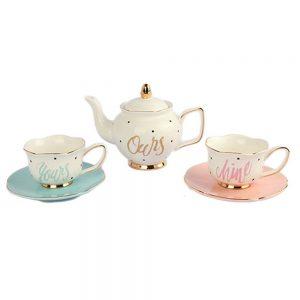 Set ceainic cu cesti Mr&Mrs portelan
