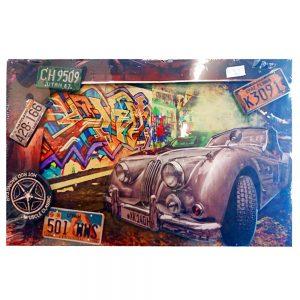 Tablou 3D vintage America's Car lemn si metal 60x40cm
