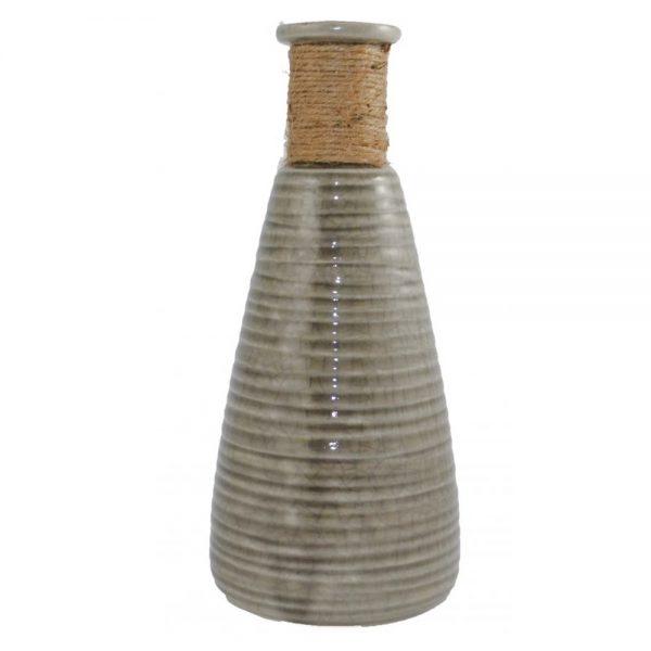 Vaza flori vintage Philippe ceramica vas gri cu sfoara 28cm