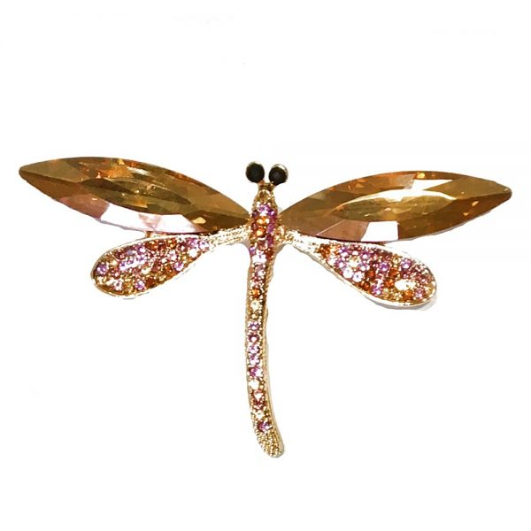 Brosa libelula galben auriu cu cristale Cameron brosa eleganta