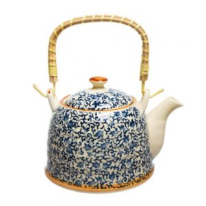 Ceainic ceramica flori albastre Daniel 800ml sita si maner bambus
