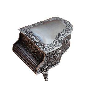Cutie bijuterii vintage Piano metal caseta verighete inel logodna