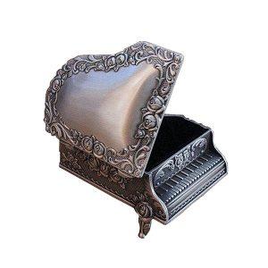 Cutie bijuterii vintage pian argintiu Piano caseta verighete inel logodna