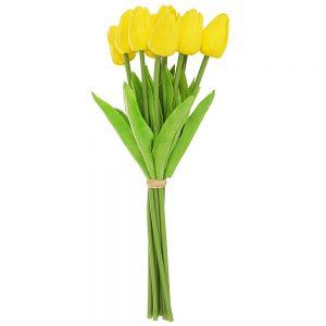 Lalele galbene artificiale Tulipe 34cm buchet 9 plante decorative