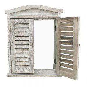 Oglinda perete Provincial fereastra cu obloane vintage alb antichizat