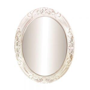 Oglinda vintage Antique Mirror ovala alb antichizat rama 48x60cm