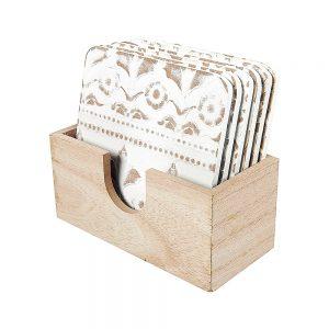 Set 6 suporturi pahare Bradley lemn natur coastere vintage