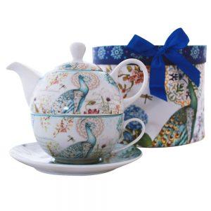 Set ceai pentru 1 persoana Peaky pauni, 3 piese