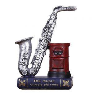 Suport pixuri Giorgio vintage saxofon argintiu decor birou