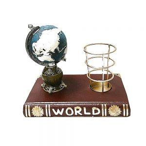 Suport vintage de birou cu carte si glob pamantesc Cristofor