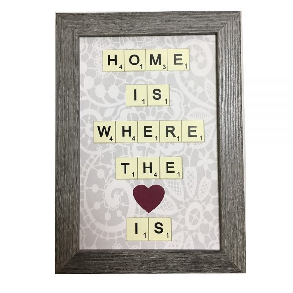 """Tablou mesaj """"Home Is Where The Heart Is"""" cadou indragostiti"""