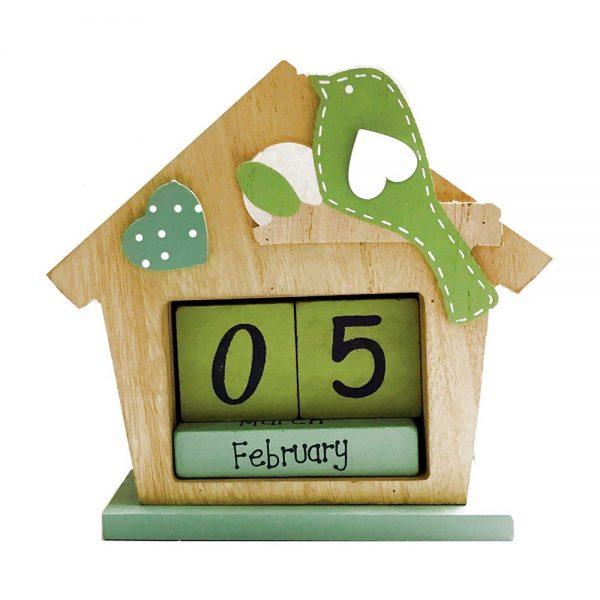 Calendar cuburi lemn Charlie pasare verde calendar vintage perpetuu
