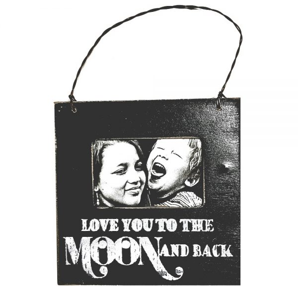 Rama foto Love You To The Moon And Back vintage negru